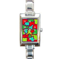 Colorful Abstract Design Rectangle Italian Charm Watch by Valentinaart