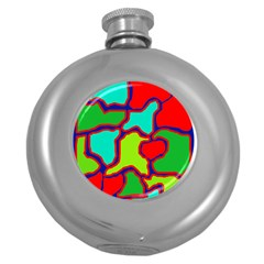 Colorful Abstract Design Round Hip Flask (5 Oz) by Valentinaart