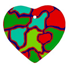 Colorful Abstract Design Heart Ornament (2 Sides) by Valentinaart