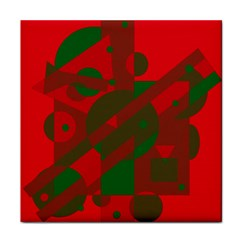 Red and green abstract design Tile Coasters by Valentinaart