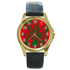 Red And Green Abstract Design Round Gold Metal Watch by Valentinaart