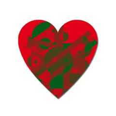 Red And Green Abstract Design Heart Magnet by Valentinaart