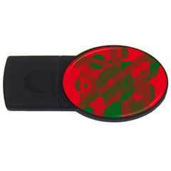 Red And Green Abstract Design Usb Flash Drive Oval (2 Gb)  by Valentinaart