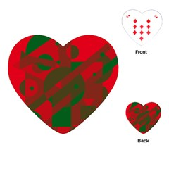 Red and green abstract design Playing Cards (Heart)