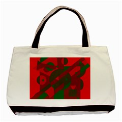 Red And Green Abstract Design Basic Tote Bag by Valentinaart