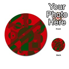 Red And Green Abstract Design Multi Purpose Cards (round)  by Valentinaart