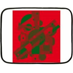 Red And Green Abstract Design Fleece Blanket (mini) by Valentinaart