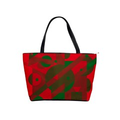 Red And Green Abstract Design Shoulder Handbags by Valentinaart