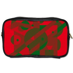 Red And Green Abstract Design Toiletries Bags by Valentinaart
