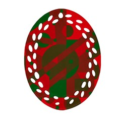 Red And Green Abstract Design Ornament (oval Filigree)  by Valentinaart