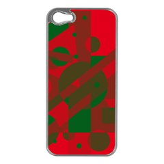 Red And Green Abstract Design Apple Iphone 5 Case (silver) by Valentinaart