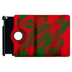 Red And Green Abstract Design Apple Ipad 3/4 Flip 360 Case by Valentinaart