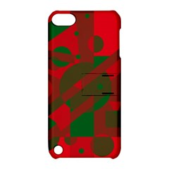 Red And Green Abstract Design Apple Ipod Touch 5 Hardshell Case With Stand by Valentinaart