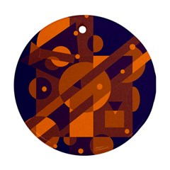 Blue And Orange Abstract Design Ornament (round)  by Valentinaart