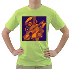 Blue And Orange Abstract Design Green T Shirt by Valentinaart