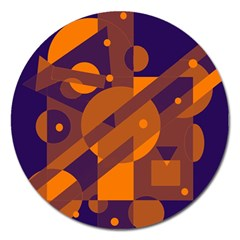 Blue And Orange Abstract Design Magnet 5  (round) by Valentinaart