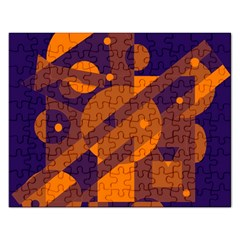 Blue And Orange Abstract Design Rectangular Jigsaw Puzzl by Valentinaart