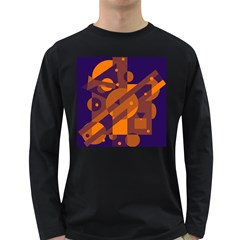 Blue And Orange Abstract Design Long Sleeve Dark T Shirts by Valentinaart