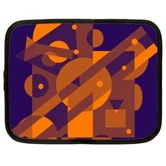 Blue And Orange Abstract Design Netbook Case (xl)  by Valentinaart