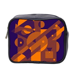 Blue And Orange Abstract Design Mini Toiletries Bag 2 Side by Valentinaart