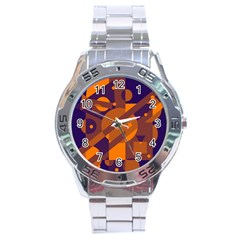 Blue And Orange Abstract Design Stainless Steel Analogue Watch by Valentinaart