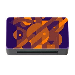 Blue And Orange Abstract Design Memory Card Reader With Cf by Valentinaart