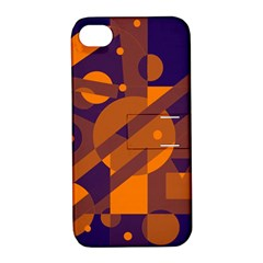 Blue And Orange Abstract Design Apple Iphone 4/4s Hardshell Case With Stand by Valentinaart
