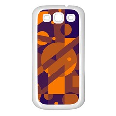 Blue And Orange Abstract Design Samsung Galaxy S3 Back Case (white) by Valentinaart