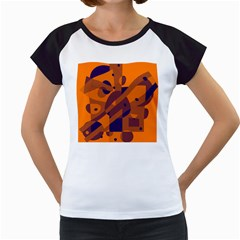 Orange And Blue Abstract Design Women s Cap Sleeve T by Valentinaart