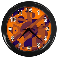 Orange And Blue Abstract Design Wall Clocks (black) by Valentinaart
