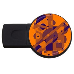 Orange And Blue Abstract Design Usb Flash Drive Round (4 Gb)  by Valentinaart