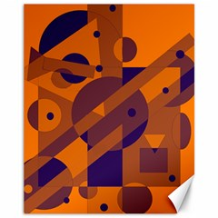 Orange And Blue Abstract Design Canvas 11  X 14   by Valentinaart