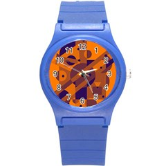 Orange And Blue Abstract Design Round Plastic Sport Watch (s) by Valentinaart