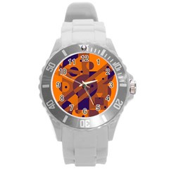 Orange And Blue Abstract Design Round Plastic Sport Watch (l) by Valentinaart
