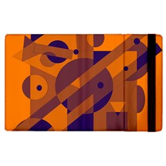 Orange And Blue Abstract Design Apple Ipad 3/4 Flip Case by Valentinaart