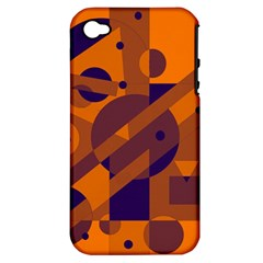 Orange and blue abstract design Apple iPhone 4/4S Hardshell Case (PC+Silicone)