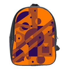 Orange And Blue Abstract Design School Bags (xl)  by Valentinaart
