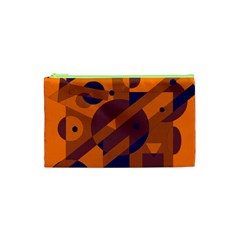 Orange And Blue Abstract Design Cosmetic Bag (xs) by Valentinaart
