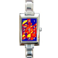 Blue And Orange Abstract Design Rectangle Italian Charm Watch by Valentinaart