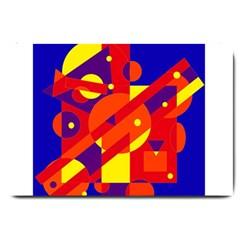 Blue And Orange Abstract Design Large Doormat  by Valentinaart