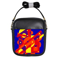 Blue And Orange Abstract Design Girls Sling Bags by Valentinaart