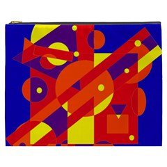 Blue And Orange Abstract Design Cosmetic Bag (xxxl)  by Valentinaart