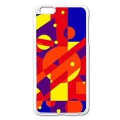 Blue And Orange Abstract Design Apple Iphone 6 Plus/6s Plus Enamel White Case by Valentinaart