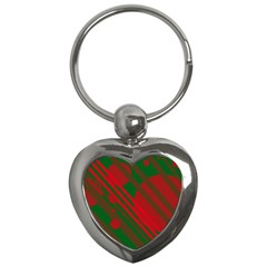 Red And Green Abstract Design Key Chains (heart)  by Valentinaart
