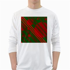 Red And Green Abstract Design White Long Sleeve T Shirts by Valentinaart