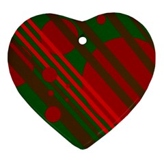Red And Green Abstract Design Heart Ornament (2 Sides) by Valentinaart