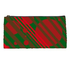 Red And Green Abstract Design Pencil Cases by Valentinaart