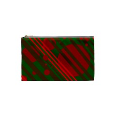 Red And Green Abstract Design Cosmetic Bag (small)  by Valentinaart