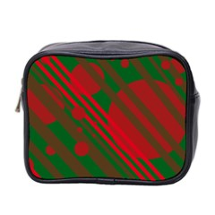 Red And Green Abstract Design Mini Toiletries Bag 2 Side by Valentinaart
