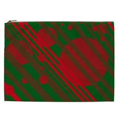 Red And Green Abstract Design Cosmetic Bag (xxl)  by Valentinaart